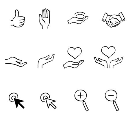 Hand sign arrow magnifying glass icon set