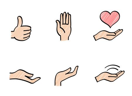Hand sign and heart icon