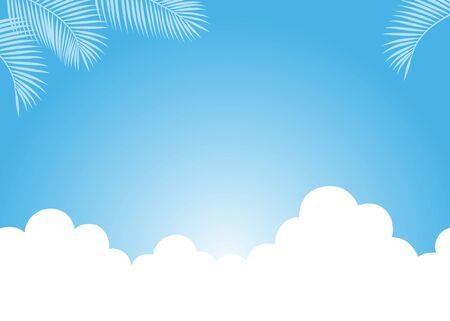 Blue sky with clouds and palm leaf background material