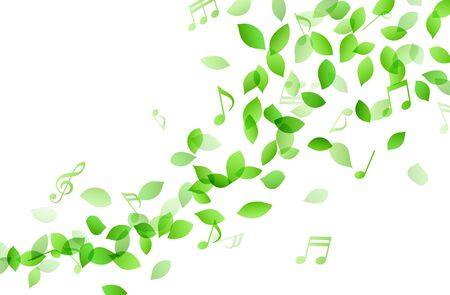 Dancing green leaves and music notes Background material Illustration