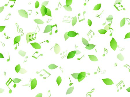 Dancing green leaves and music notes Background material Ilustração