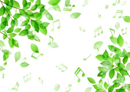 Dancing green leaves and music notes Background material Ilustracja