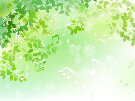 녹색 잎과 음표 햇빛 이미지