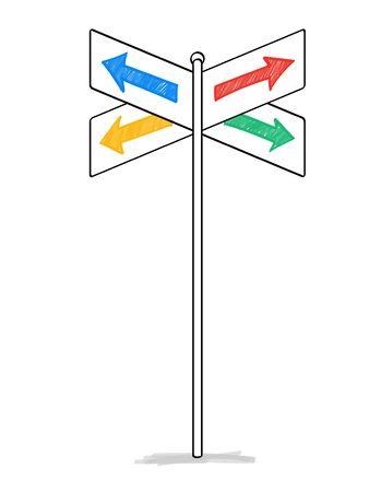 Verkehrszeichenmaterial mit vier Pfeilen