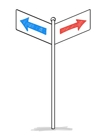 Two arrows road sign material Banco de Imagens - 128476884