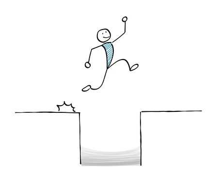 Person jumping through a hole Ilustracja