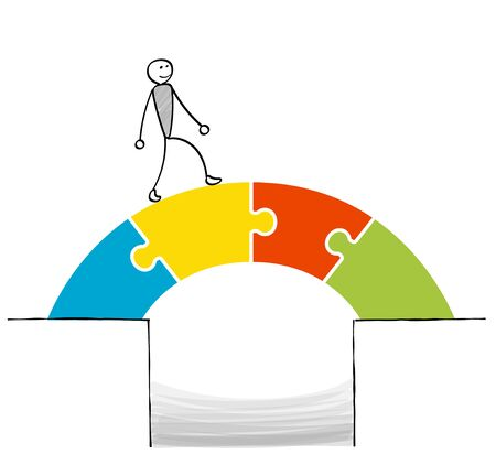 Puzzle bridge and crossing person Ilustracja