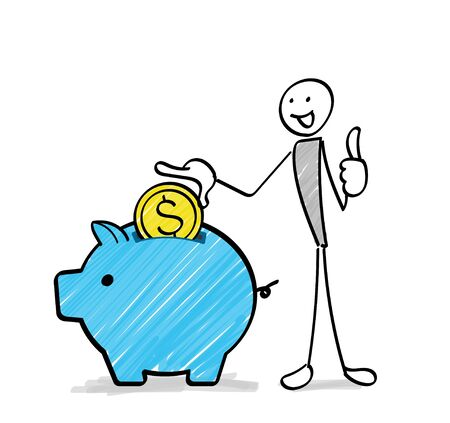 A person saving money in a piggy bank Ilustracja