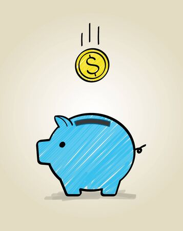 Piggy bank and coin icon Ilustracja