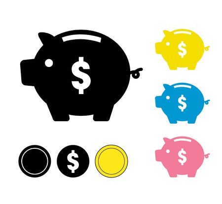 Piggy bank and coin icon set Illustration
