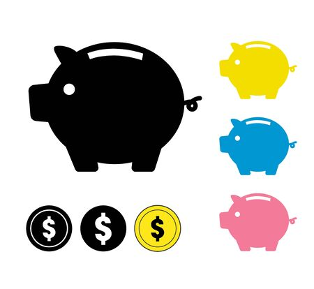 Piggy bank and coin icon set Ilustracja