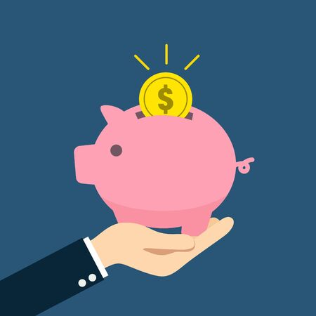 A person holding a piggy bank in his hand Ilustracja