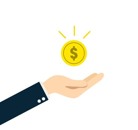 Money and hand illustration material