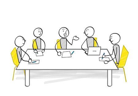 People meeting at the table illustration Ilustracja