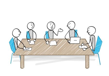People meeting at the table illustration Ilustração
