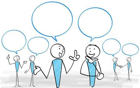 People and Speech bubble communication scene set Ilustracja