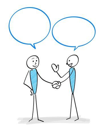 Communication scene with two people -Handshake- Ilustracja