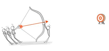 people aiming at a target with a bow and arrow Ilustração