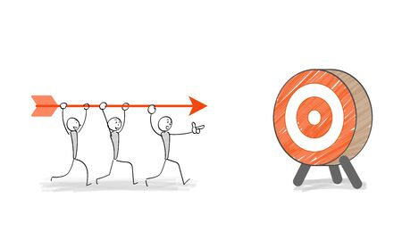people aiming at a target with arrow Ilustracja