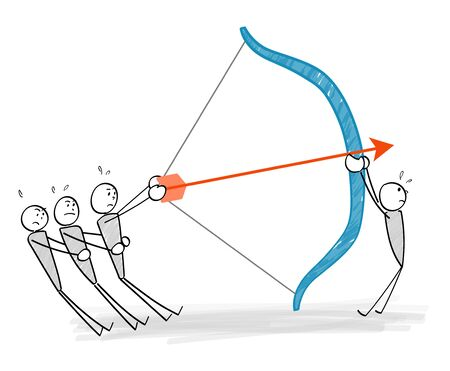 people aiming at a target with a bow and arrow Ilustracja