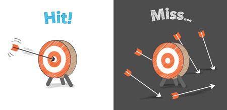 Flecha y objetivo, acertar y fallar