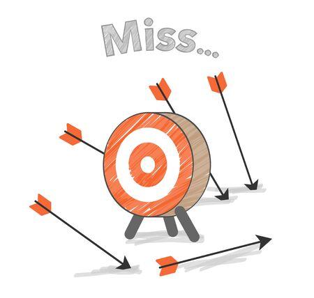 Arrow and target, miss image Ilustracja