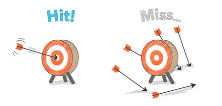 Arrow and target, hit and miss