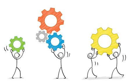 People combining gears illustration material Imagens - 128862058