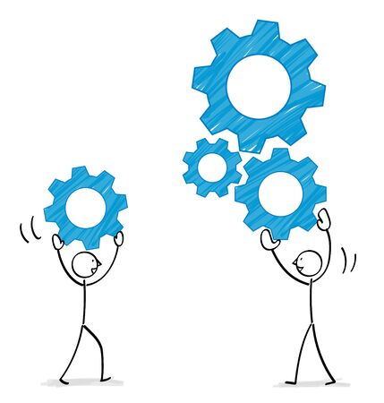 People combining gears illustration material