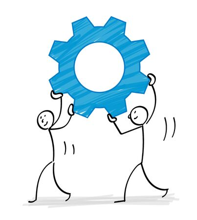 People carrying gears illustration material
