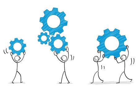 People combining gears illustration material 写真素材 - 128862231