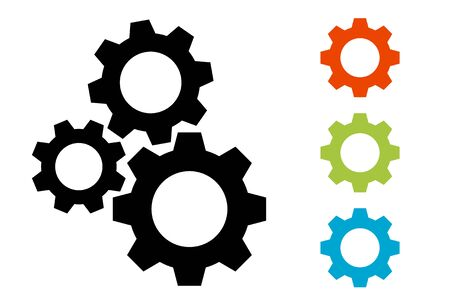 Gears icon illustration material set Imagens - 128862226