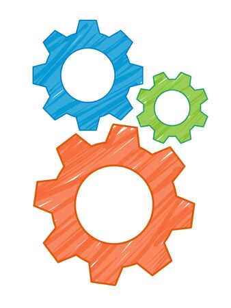 3 Gears icon illustration material