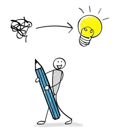 Person with pencil illustration material -Flash-