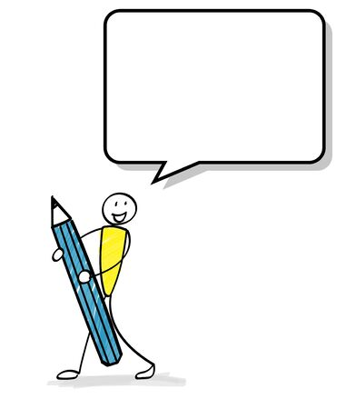 Speech bubble with a person holding a pencil