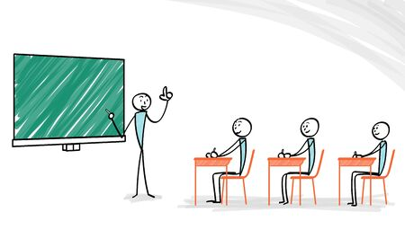 Explaining person with blackboard and students
