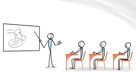 Explaining person with board and listener