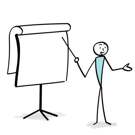 Board and person explaining illustration Ilustracja