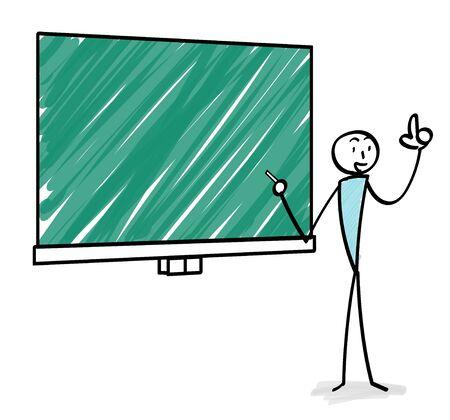 Explaining person with blackboard illustration Ilustracja