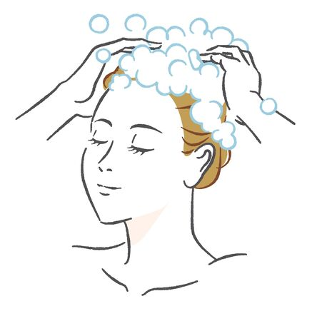 Woman washing hair illustration material 스톡 콘텐츠