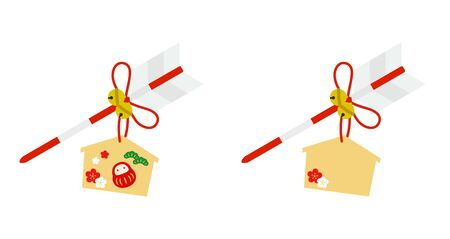 Illustration of Arrow and votive picture New Year icon