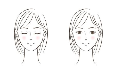 Women's face set, Closed eyes, Open eyes, line drawing