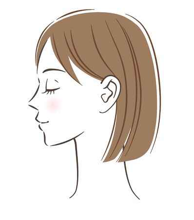 Women's profile, Closed eyes illustration
