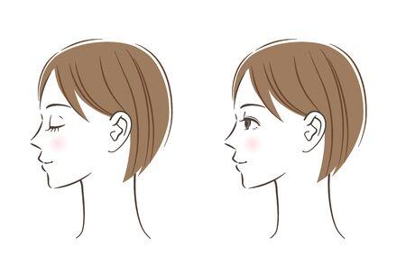 Women's profile set, Closed eyes, Open eyes