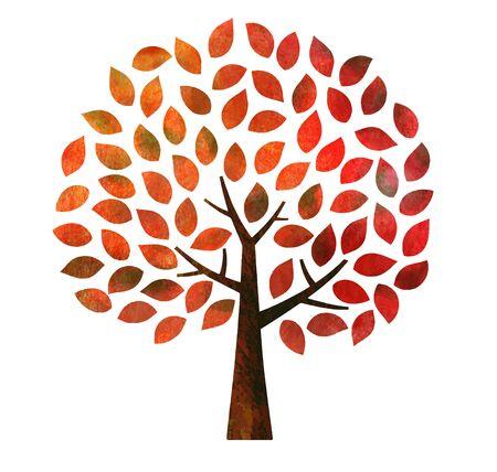 Autumn leaves tree (watercolor pencil texture) Vecteurs