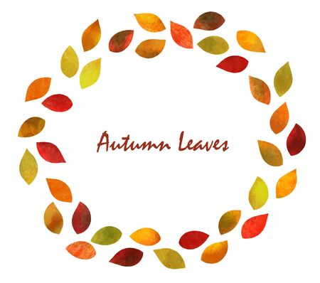 Autumn leaves Ring frame (watercolor pencil texture)