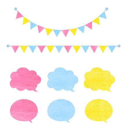 Speech bubble and decoration set (watercolor pencil texture) Ilustrace