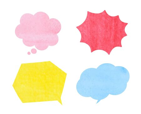 Speech bubble set (watercolor pencil texture) 免版税图像 - 131515009