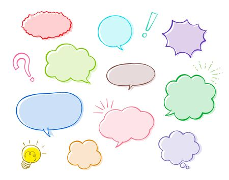 Speech bubble and decoration set (colorful Pen drawing)