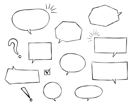 Speech bubble and decoration set (Monochrome Pen drawing)